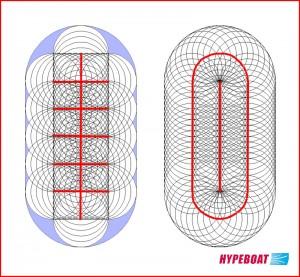 Szkic z promieniami w dwóch wersjach (małe dziury)